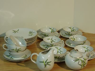 Yamaka Bamboo Occupied Japan China Tea Lunch Plates Saucers Cups Sugar Creamer