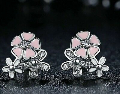 Poetic daisy cherry blossom drop stud earrings genuine sterling silver 925 fits