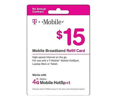 T-Mobile Pay As You Go Phone Refill Card $15 Mobile Broadband