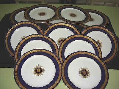 "Minton G7138 D Collamore 12 Dinner 10.25"" 1857 Cobalt Gold Rim w/ Medallion Ctr"
