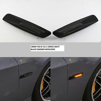 Smoked Side Repeaters With Matt Black Surround For Bmw F10 + F11 5 Series