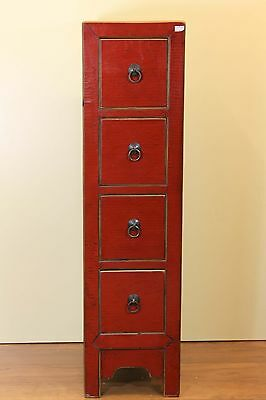 A Chinese Red Lacquer Narrow Storage/Medicine/Storage Cabinet 36 inches
