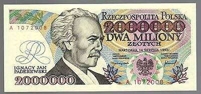 POLAND:  2,000,000 ZLOTYCH  (1992) (A 1072008)  * uncirculated *  ERROR NOTE *