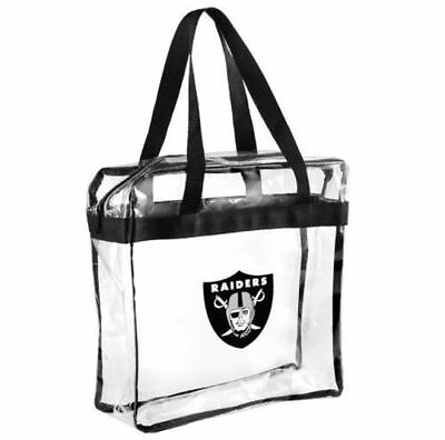 Oakland Raiders Clear Plastic Zipper Tote Bag NFL 2019 Stadium Approved
