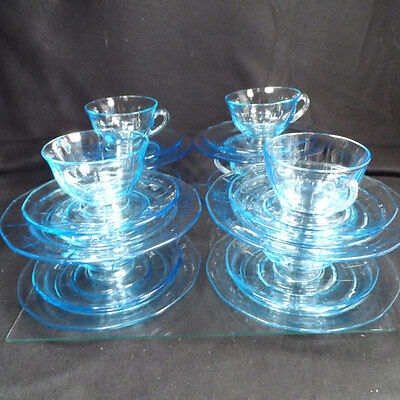 Fostoria Azure Fairfax cup saucer and salad plate- Set 4 Coffee cups and plates