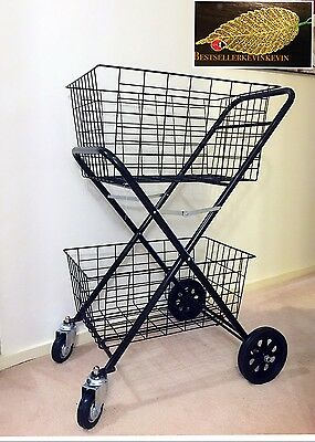 4 Wheels Shopping Trolley Double Basket Collapsible  cart only pick up