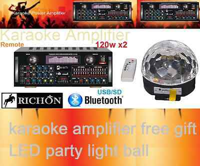 SPECIAL120Wx2 PROFESSIONAL KARAOKE AUDIO MIXING AMP USB & BLUETOOTH+ PARTY LIGHT
