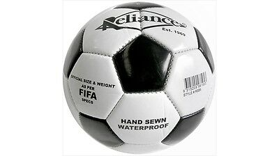 Reliance Retro Soccer Ball Hand-Sewn & Waterproof - White & Black, Size 5