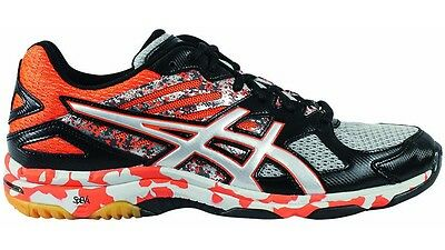 Asics Men's Gel Flash 2 Court Shoes in Black/Silver/Flame - Size 7.5
