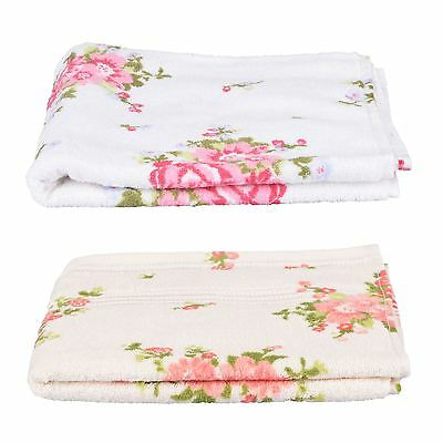 Rose Floral Printed 100% Cotton Face, Hand, Bath Towel, Bath Sheet White, Cream