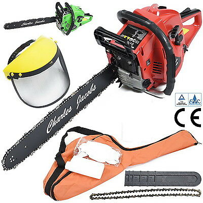 """60cc Petrol Chainsaw 20"""" Bar Chain Full Face Mask Gloves Carry Bag Red"""