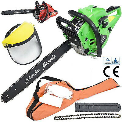 "60cc Petrol CHAINSAW 20"" Bar Spare Chain Full Face Mask Gloves Carry Bag Green"