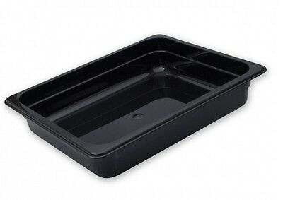 3x Bain Marie Tray, 1/2 Gastronorm, 65mm, Black Polycarbonate Food Pan