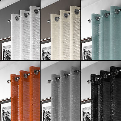 Glamour Adele Sparkle Eyelet Ring Top Shimmery Voile Curtain Panel 6 Colours