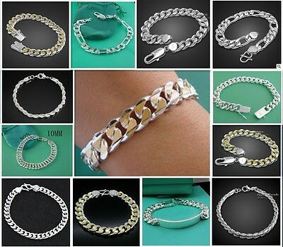 Fashion Jewellery Solid 925 Sterling Silver Men/Boy Chain Bracelet/Bangle Gift