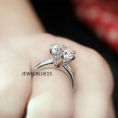 2.00 CT Off White Round Cut Real Moissanite Engagement Ring 925 Sterling Silver