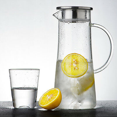 Jug / Pitcher, 1.5L with Lid, Glass, Water, Drinks, Beverages Fruit Infuser
