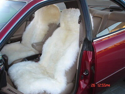 2 Genuine  New Zealand Sheepskin Car Seat Covers White 4 Colors Available