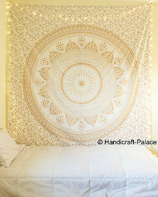 Large Hippie Mandala Tapestry Golden Ombre Wall Hanging Queen Bedspread Throw