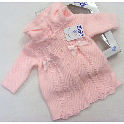 Girls Spanish Knitted Satin Bow & Cable Hooded Coat 0-3 Month LAST ONE