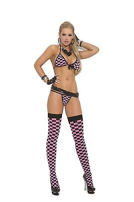 Elegant Moments Pink And Black Checkered Set G string & Matching Stockings 8-12