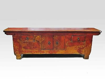 A Chinese Antique Red Color Simple Coffee Table / TV Stand Display 63'' Long