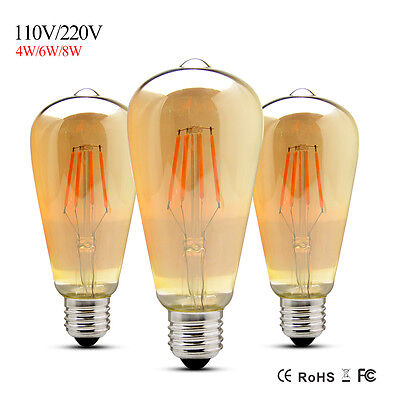 Dimmable Retro E27 Vintage Edison Bulb 4/6/8W ST64 LED Filament Lights  220/110V
