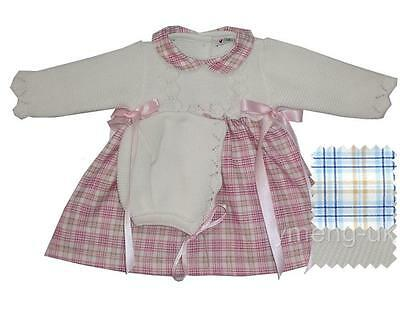 Gorgeous Baby Girl Spanish Pink Checked Dress &Bonnet/Knitted Top/Romany/Winter