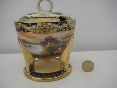 Vintage Noritake  Unusual Shaped Legged Footed Cobalt Gilt Scenic Lidded Pot