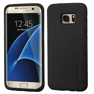 Black/Black Hybrid Phone Protector Cover Case for Samsung Galaxy S7 edge
