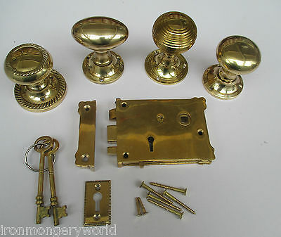 Solid Brass Vintage Retro Style Bedroom Rim Door Lock + Knob Handle Set