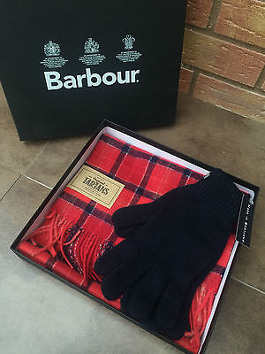 Barbour Red Tartan Scarf With Navy Blue Gloves Set (Boxed) Made In Scotland Bnwt