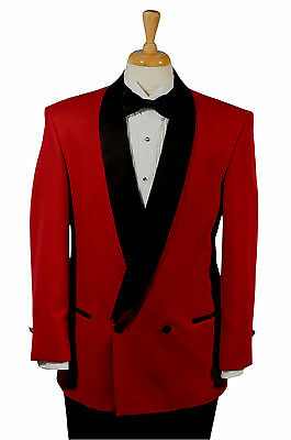38 Regular - Red & Black Double Breasted Tuxedo Coat w/ Matching Black Pants