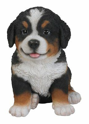 Sitting BERNESE Puppy Dog - Life Like Figurine Statue Home / Garden NEW