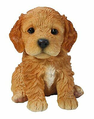 Sitting COCKAPOO Puppy Dog - Life Like Figurine Statue Home / Garden NEW
