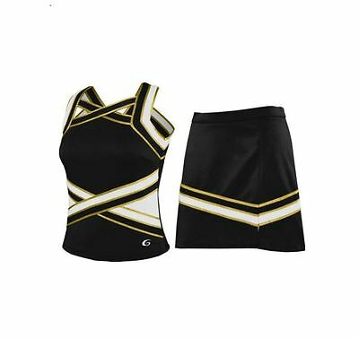 Black Gold and White Cheerleading Uniform Various Sizes