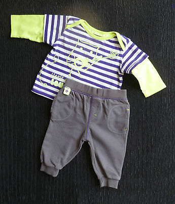 Baby clothes BOY 3-6m outfit M&S purple,grey,green owl LS top,soft grey trousers