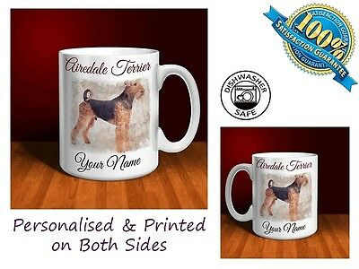 Airedale Terrier Personalised Ceramic Mug: Perfect Gift. (D017)