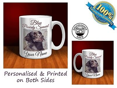 Blue Picardy Spaniel Personalised Ceramic Mug: Perfect Gift. (D074)