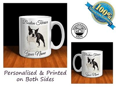 Boston Terrier Personalised Ceramic Mug: Perfect Gift. (D014)