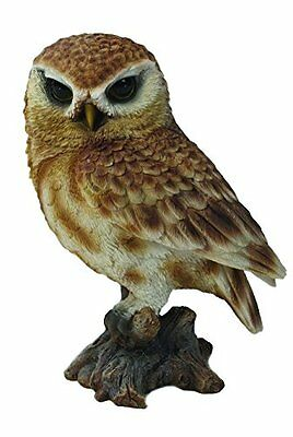 "Brown OWL On STUMP 6"" - Life Like Figurine Statue Home / Garden NEW"