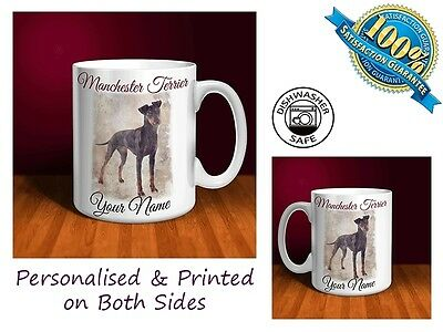 Manchester Terrier Personalised Ceramic Mug: Perfect Gift. (D033)
