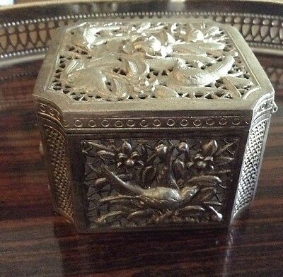 """3"""" Antique Cambodian Silver Trinket  Box With Birds"""
