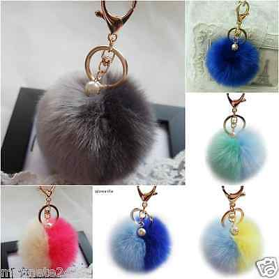 Faux Fur Ball Pompom Keyring with Pearl Bag Accessory Car Pendant UK SELLER