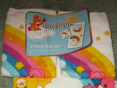 RARE NEW CARE BEARS 3 Piece BATH SET Bath TOWEL & 2 WASHCLOTHS