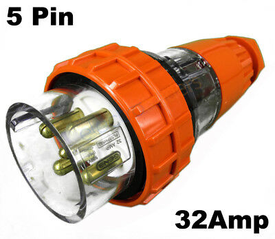 GEN3 32 AMP 3 Phase 5 Pin Round Straight Plug Top