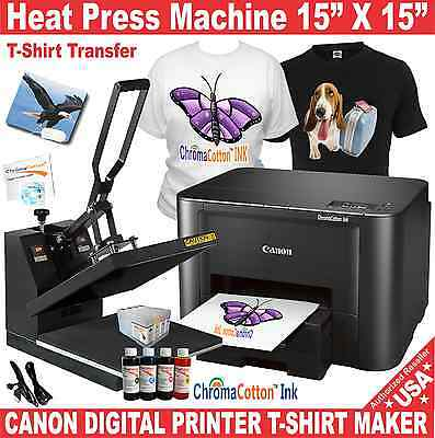 Heat Press 15X15 Transfer Sublimation ++ Canon Printer T-Shirt Maker Start Pack