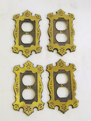 Vintage, National Lock, brass, single gang duplex receptacles (outlet covers)