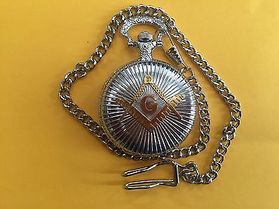 Steampunk Masonic Freemasons Fob Quartz Pocket Watch. Silver Tones