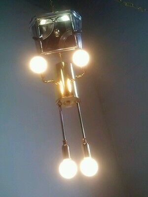 Vintage Robot Atomic Ufo Light Swag Lamp Sputnik Eyeball Chandelier Torino Coffe